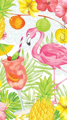 Carry the beautiful Flamingo Party sachet artwork with you for a little taste of summer on your phone! Set this image as your background and dream of chilled strawberries, lemons, and tropical fruit. What a great background for your iPhone! iPhone wallpaper © Leigh Brown
