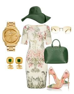 """""""Brunch"""" by thestylesnitch on Polyvore featuring Adrianna Papell, Christian Louboutin, Louis Vuitton, Chanel and Versace"""