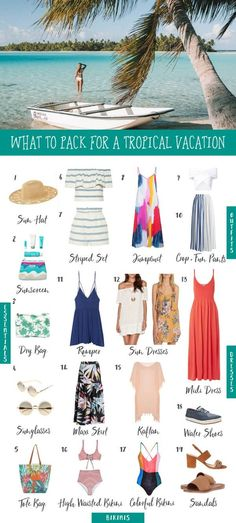 What to Pack for a Tropical Vacation beach vacation packing list with outfit ideas Mexico Vacation Outfits, Tropical Vacation Outfits, Packing Tips For Vacation, Tropical Outfit, Bahamas Vacation, Tropical Vacations, Tropical Beaches, What To Pack For Vacation, Beach Vacation Clothes
