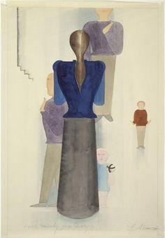 """Oskar SCHLEMMER """" Famille"""", avant 1936 - Aquarelle et crayon graphite sur papier, 50 x 34,5 cm, Paris, Centre Pompidou, Musée national d'art moderne/Centre de création industrielle"""