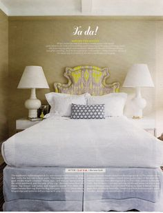 headboard. i have this page torn from a magazine in my HUGE folder of awesome home things!