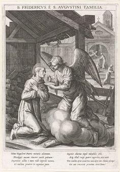 Raphaël Sadeler (I) | Engel rijkt de communie uit aan Fredericus van Regensburg, Raphaël Sadeler (I), Johann Mathias Kager, Matthäus Rader, 1615 | Op de voorgrond knielt de augustijner monnik Fredericus van Regensburg voor een engel. De engel geeft hem de heilige hostie. Op de achtergrond een kerk, waar de engel de heilige hostie van een priester neemt. De prent heeft een Latijns onderschrift en is de 59ste prent van een 60-delige serie met als onderwerp de heiligen van Beieren.