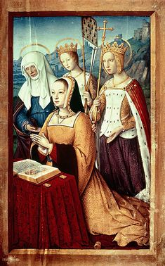 """""""Anne of Brittany with her patron saints, Anne, Ursula (with the arms of Brittany on a pennant) and Catherine"""" by Jean Bourdichon, Grandes Heures d'Anne de Bretagne, France. Charles Viii, Louis Xii, 16th Century Fashion, 17th Century, Renaissance Era, Renaissance Clothing, Medieval Fashion, Saint Esprit, Renaissance Paintings"""