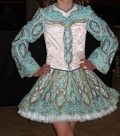Irish Dance Dress Made in Ireland Elevation Aqua White Ages 9 10 11 12 | eBay