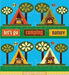Camping Bear Clipart Set by ClipartKitchen on Etsy.