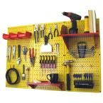 Wall Control 32 in. x 48 in. Metal Pegboard Standard Tool Storage Kit with Yellow Pegboard and Red Peg Accessories, Yellow Pegboard With Red Accessories