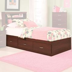 $215 Briar Twin Mates Bed in Cherry without Headboard | Nebraska Furniture Mart