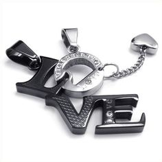 "KONOV Jewelry 2pcs His & Hers Couples Gift ""Love"" Stainless Steel Pendant Love Necklace for Lover Valentine, Black Silver, with 18 inch and 22 inch Chain GET IT FROM HERE http://amzn.to/12xiyKH"