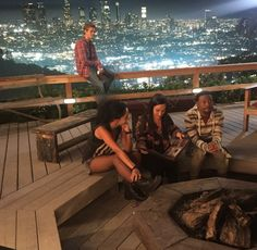 Behind the scenes shot of Lucas Till, Tristin Mays, Justin Hires and Meredith Eaton for season 2 of Macgyver