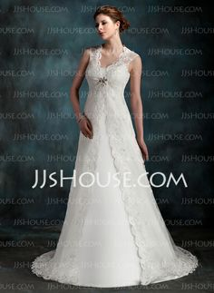 Wedding Dresses - $119.99 - A-Line/Princess Scoop Neck Court Train Tulle Wedding Dress With Ruffle (002001296) http://jjshouse.com/A-Line-Princess-Scoop-Neck-Court-Train-Tulle-Wedding-Dress-With-Ruffle-002001296-g1296