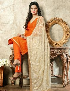 Unstitched chanderi suit for Rs.1275