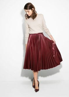 Modest pleated leather burgundy | Mode-sty stylish modest fashion www.mode-sty.com