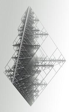 Recursive structure / object in recursive geometry, fractals Geometry Art, Sacred Geometry, Fractal Geometry, Art Génératif, Generative Kunst, Inspiration Drawing, Design Inspiration, Graphic Art, Graphic Design