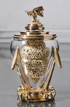 Elizabeth Staiger- Queen Bee Honey Dipper cast in bronze, silver plating and glass