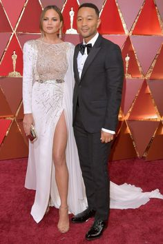 Chrissy teigen and john legend...at the 2017 oscars red carpet! Dont they look so adorable!!! <3
