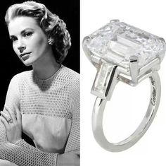 Grace Kelly 10.5 carat engagement ring. Emerald Cut stone is amazing