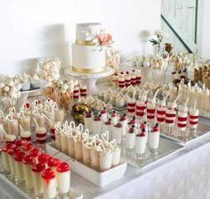 dessertbuffet desserts Table - Dessert Table Ideas On Your Happy Wedding Mini Desserts, Wedding Desserts, Wedding Decorations, Wedding Dessert Tables, Wedding Ideas, Wedding Sweet Tables, Dessert Ideas For Wedding, Unique Wedding Food, Wedding Food Bars