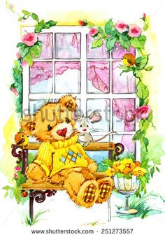 Teddy Bear On The Window. Decorative Image Of A Flying Swallow A Sheet Of Paper In His Beak. Stock Illustration - Illustration Of Happy, decorate: 58213744 Bear Illustration, Watercolor Illustration, Bear Images, Bear Cartoon, Cute Teddy Bears, Flower Backgrounds, Kawaii, Portfolio, Drawing Flowers