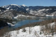 The artificial lake Plastiras, situated at an altitude of 750 m, near the city of Karditsa, central Greece