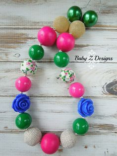 SALE Hot Pink, Green, and Blue Chunky Necklace - For Toddlers, Girls, or Teens on Etsy, $12.00