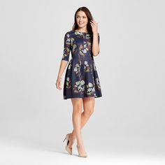 Women's Elbowsleeve Printed Watercolor Fit and Flare Dress Navy 10 - Melonie T : Target