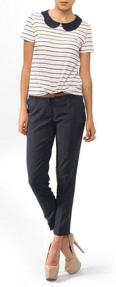 Collared shirt and cropped pants