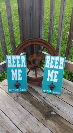 Beer Me Wooden Mancave Sign - Wood Wall Shop Decor - Man Gift - Groomsman Present - Customized Bottle Opener - Dad Sign - pinned by pin4etsy.com