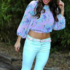 floral and mint pants♥♥