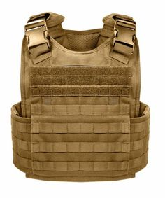 Rothco MOLLE Tactical Plate Carrier Vest - Black or Coyote Adjustable Shoulder Straps with Detachable Pads MOLLE Compatible Webbing Covers most of Vest Interna