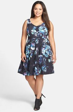 City Chic 'Moonlit Rose' Floral Print Fit & Flare Dress (Plus Size) available at #Nordstrom