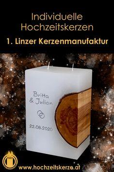 Ich fertige einzigartige Hochzeitskerzen nach individuellen Wünschen an. Ein Unikat für jedes Brautpaar. 100%ige Handarbeit aus Oberösterreich. Sie können nicht nur die Verzierung, sondern auch die Form der Kerze selbst bestimmen, da wir auch die Rohlinge nach Kundenwunsch selbst herstellen. Kerze mit Holz, Mantelkerze, Kerze mit Mineralien, Achat, Meteorit, Hochzeit selbstgemacht Standesamt Kirche Hochzeitsbrauch Geschenk Dekoration Kerze deko Trauung Trauspruch Kerzenshop Form, Pillar Candles, Giveaways, Embellishments, Dekoration, Personalized Candles, Candle Decorations, Inventors, Candles