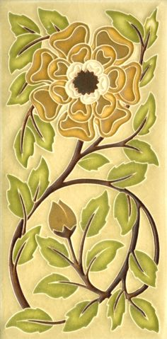 4x8 Tudor Rose in Olive by Motawi Tileworks