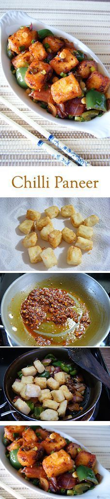 Chilli Paneer (Dry) – A wonderful appetizer from the Indo Chinese cuisine. Soft Paneer (Indian Cottage Cheese) tossed in wonderful asian sauces and flavors. Vegans can easily substitute Firm Tofu for Paneer. Read Recipe by malathimuthukri Paneer Recipes, Veg Recipes, Indian Food Recipes, Asian Recipes, Vegetarian Recipes, Cooking Recipes, Healthy Recipes, Paneer Dishes, Veg Dishes