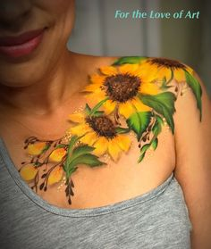 Sunflowers face paint adult face painting, painting tattoo и Cover Up Tattoos, Love Tattoos, Beautiful Tattoos, Body Art Tattoos, Tattoos For Women, Small Tattoos, Wrist Tattoos, Tatoos, Adult Face Painting