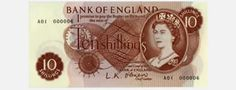 Ten shillings or 'ten bob' note.  In 1969 the new 50p, the world's first seven-sided coin, replaced the 10-shilling note