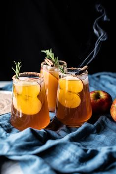 Smoky Harvest Apple Cider Margaritas - Slightly sweet, with a hint of smokiness + a touch of cinnamon, the perfect seasonal cocktail! @ http://halfbakedharvest.com