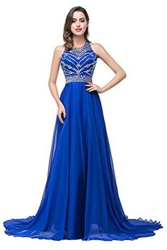 1893518d0c57 Women Formal Evening Dresses Halter Neck Crystal Party Gown,Royal Blue,Size  6: Amazon.co.uk: Clothing