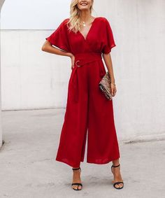 807ca864e04 VUTTI Red Ruffle-Sleeve Belted Jumpsuit - Women | Zulily Jumpsuit With  Sleeves, Women's