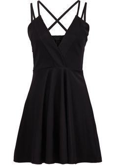 Black Spaghetti Strap V Neck Pleated Dress