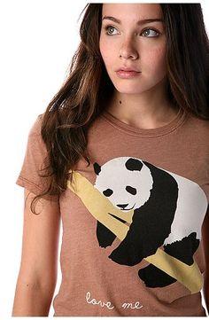 a panda lounging on a limb with 'love me' written below