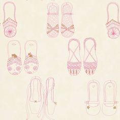 papel pintado infantil zapatillas rojo fresa