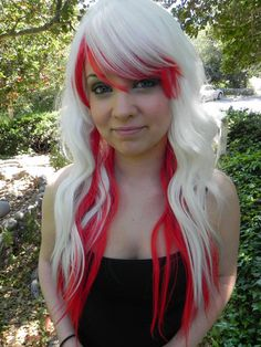 Color- White and Red Style- Wavy Curly Fiber- Heat Resistant Synthetic  Length- This wig is elas. 98d9a9d6491a
