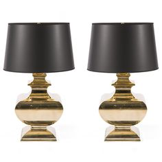 Love the patina on these - Pair of Brass Baluster Lamps.