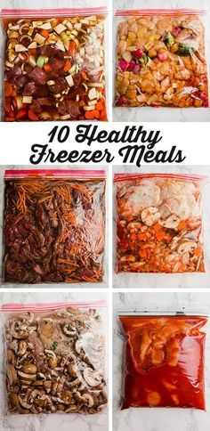 These 10 meals are the perfect healthy freezer meals for new moms or anyone who wants to save tons of time in the kitchen! Freezer Friendly Meals, Slow Cooker Freezer Meals, Make Ahead Freezer Meals, Easy Meals, Meal Prep Freezer, Inexpensive Meals, Frugal Meals, Freezer Cooking, Freezer To Crockpot Meals