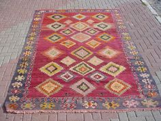 "VINTAGE Turkish Kilim Rug Carpet, Handwoven Kilim Rug, Antique Kilim Rug,Decorative Kilim, Natural Wool 77.5"" X 118''"