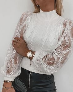 Trend Fashion, Fashion Line, Women's Fashion, Chic Type, Tops Online Shopping, Romantic Outfit, Lace Sweater, Womens Fashion Online, Cable Knit Sweaters