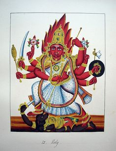 Durga steps on the figure of Mahisa. 19th c. South India