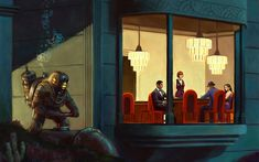 What if American painter Edward Hopper had lived in Rapture. Art Prints --> HERE Poker Players ( Hopper went to Rapture ) Bioshock Rapture, Bioshock Infinite, Edward Hopper, Poker, Bioshock Game, Bioshock Series, Underwater City, Fanart, Fallout New Vegas