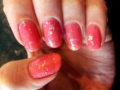"""Star Kin """"Disco Butterfly"""" nail polish. Beautiful pink jelly with holographic gold and silver hex and square glitter, and butterfly glitter"""