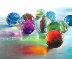 Free Shipping  RED MARBLE REFLECTIONS Original by CarlaKurtArt, $380.00